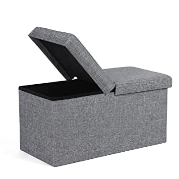 SONGMICS Folding Ottoman Storage Bench Box With Hinged Cover 76 X 38 X 38  Cm Linen