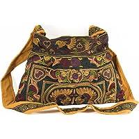 Changnoi Fair Trade Bohemian Style Sling Bag with Mocha Bird Embroidered Fabric …