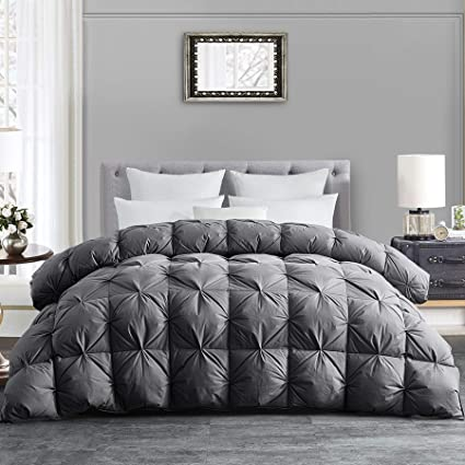 Hombys All Season Goose Down Comforter King Size Duvet Insert Feather Hypo Allergenic Grey Pinch Pleat 100 Cotton Cover Down Proof With Corner Tabs Premium Baffle Box Design Gray Down Comforter Amazon Co Uk Kitchen Home
