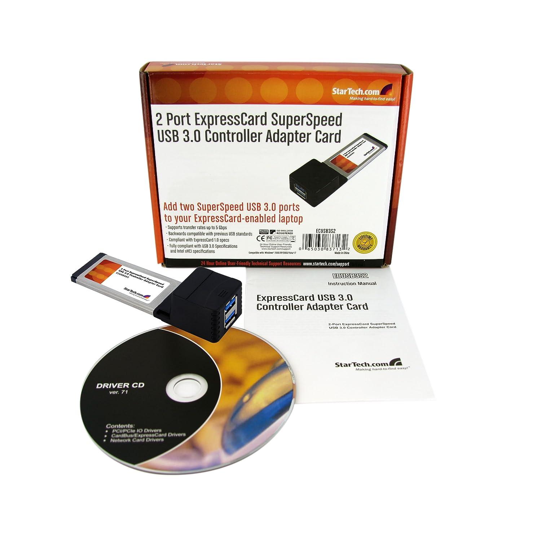 STARTECH.COM ECUSB3S2 2-Port USB 3.0 Laptop Express Schnittstelle Karte 34mm