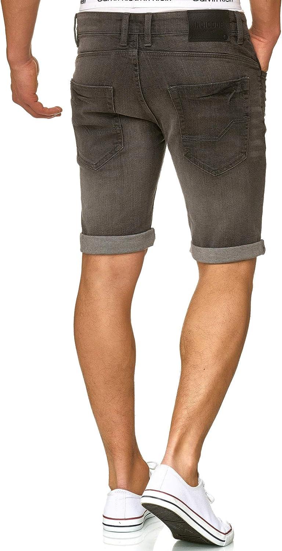 M/änner Kurze Denim Stretch Hose Used Look Washed Destroyed Regular Fit Men Short Pants Freizeithose f Indicode Herren Caden Jeans Shorts mit 5 Taschen aus 98/% Baumwolle