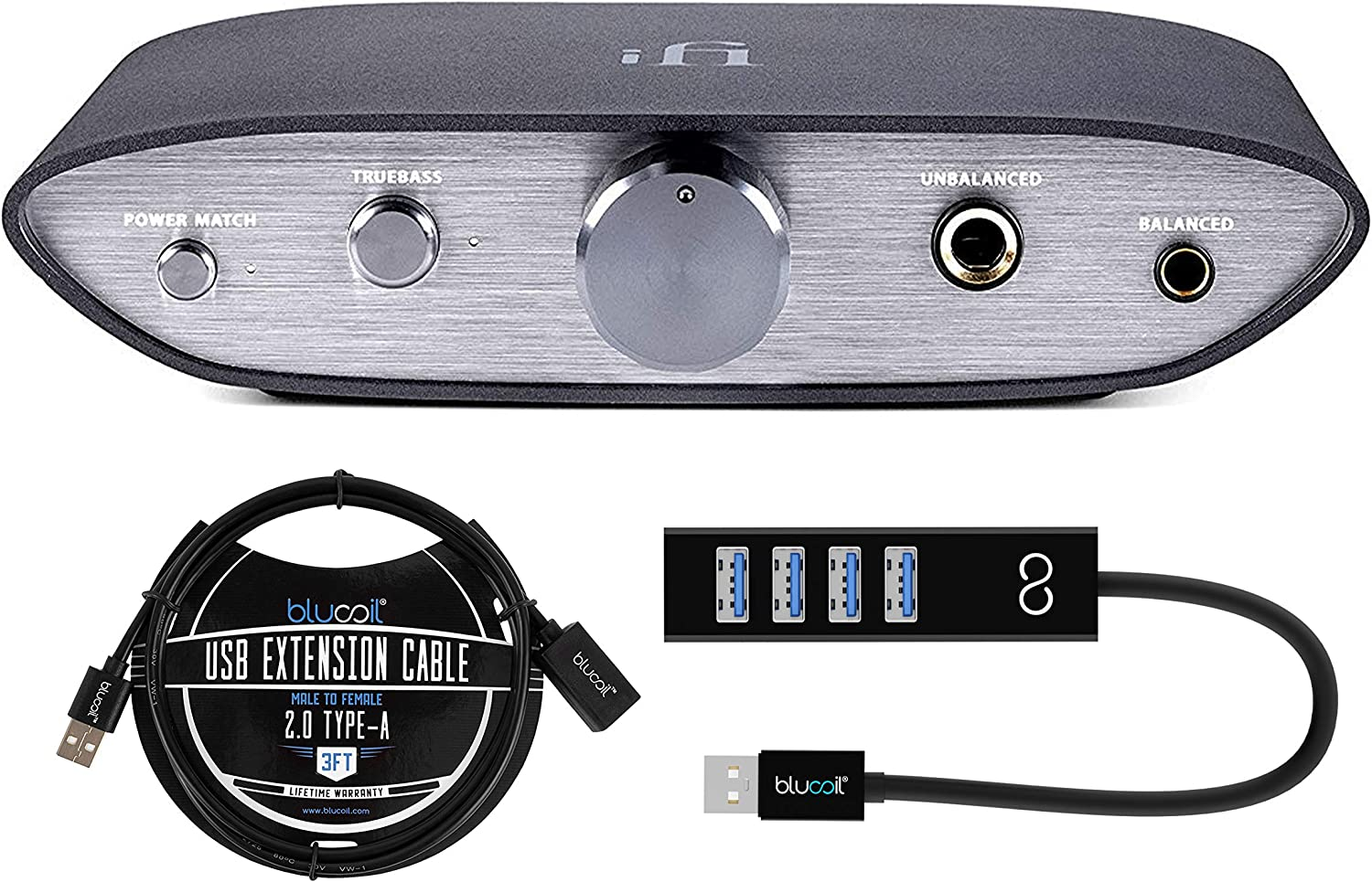 and Smartphones Bundle with Blucoil 3-FT USB 2.0 Type-A Extension Cable iFi Zen DAC Headphone Amp and Digital to Analog Converter for Computers and Mini USB Type-A Hub with 4 USB Ports Tablets
