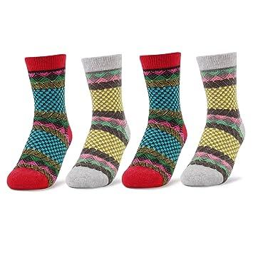 4 Pairs Women Fairisle Argyle Pattern Winter Woolen Socks ...