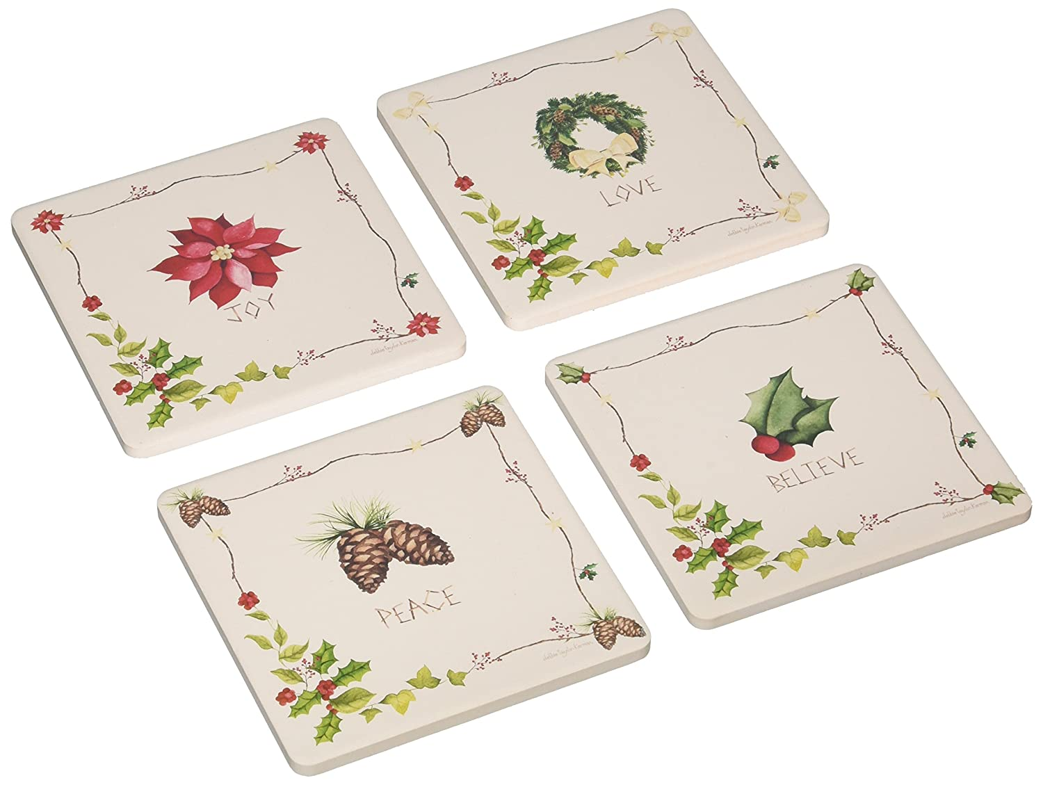 CoasterStone AS8760 Absorbent Coasters, 4-1/4-Inch,'Rustic Christmas', Set of 4 Rustic Christmas