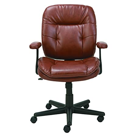 OIF ST4859 Swivel Tilt Leather Task Chair, Fixed T-Bar Arms, Chestnut Brown