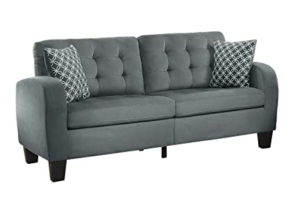 Homelegance Sinclair Tufted Accent Sofa With Two Geometric Pattern Toss Pillows Grey