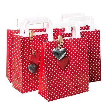 Bolsas de regalo, 5 unidades pequeñas, color rojo y blanco ...