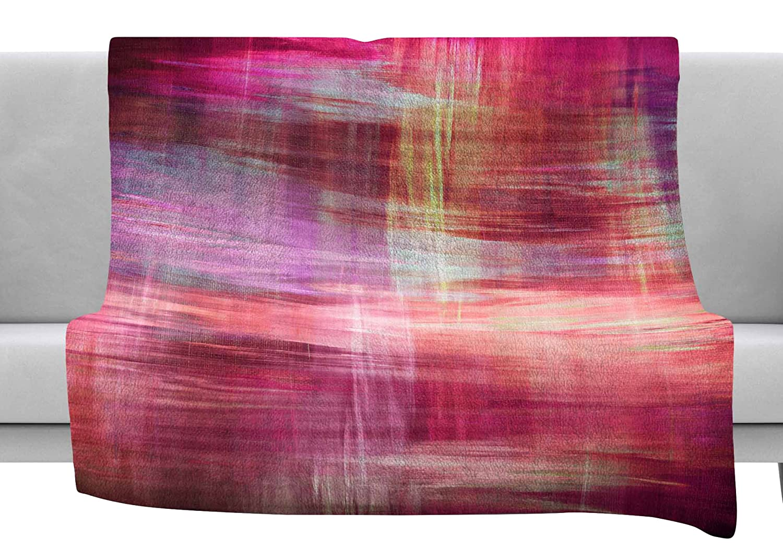 80 x 60 Fleece Blanket Kess InHouse EBI Emporium Blurry Vision 4 Magenta Pink Painting Throw