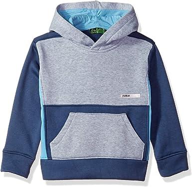 Grey Heather Color Block RBX Boys Little Pullover Fleece Hoodie 7