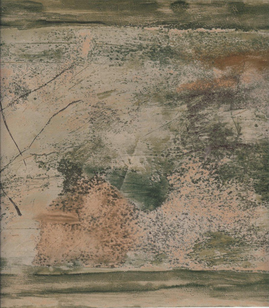 Wallpaper Border Green, Bronze & Taupe Abstract Contemporary Faux