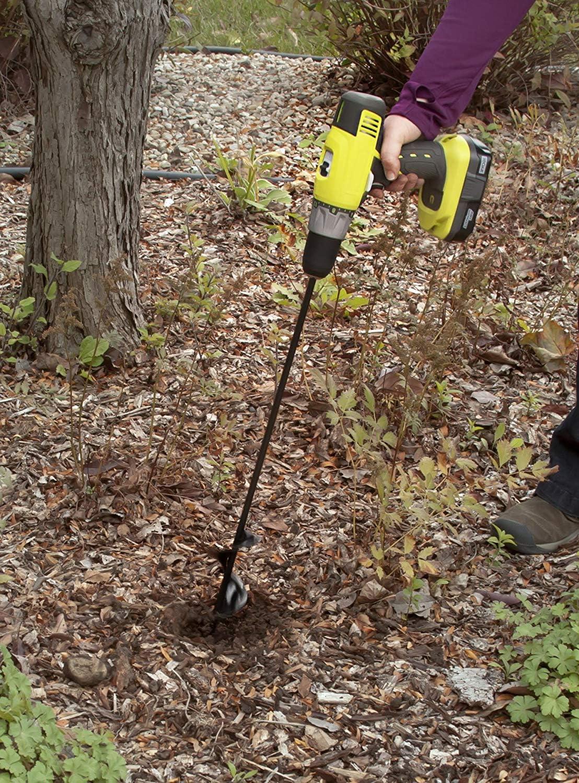 Smarcent Flower Bulb Hex Shaft Drill Planter Non-Slip Hex Drive Bulb /& Bedding Plant Auger Large Noir