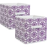 "DII Fabric Storage Bins for Nursery, Offices, & Home Organization, Containers Are Made To Fit Standard Cube Organizers (11x11x11"") Scroll Eggplant - Set of 2"