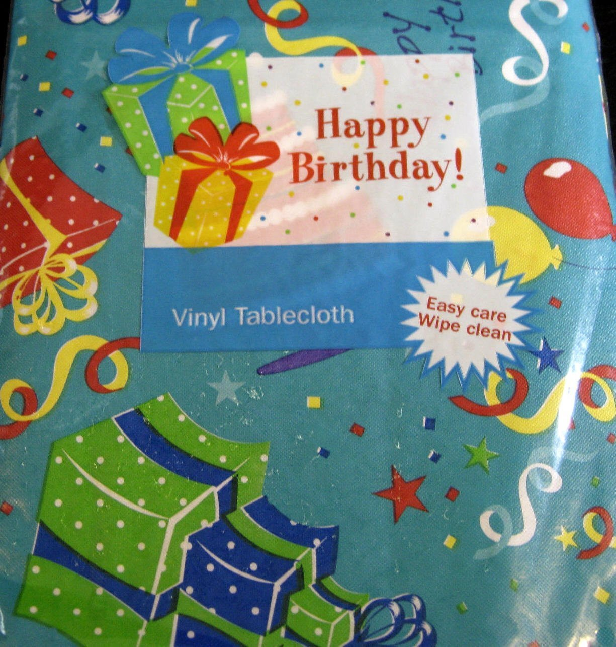 Amazon.com: Happy Birthday Flannel Back Vinyl Tablecloths By Elrene  Teal   Assorted Sizes (52 X 52 Square): Home U0026 Kitchen