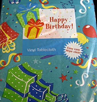 happy birthday flannel back vinyl tablecloths by elrene teal assorted sizes 60 round - Vinyl Tablecloths