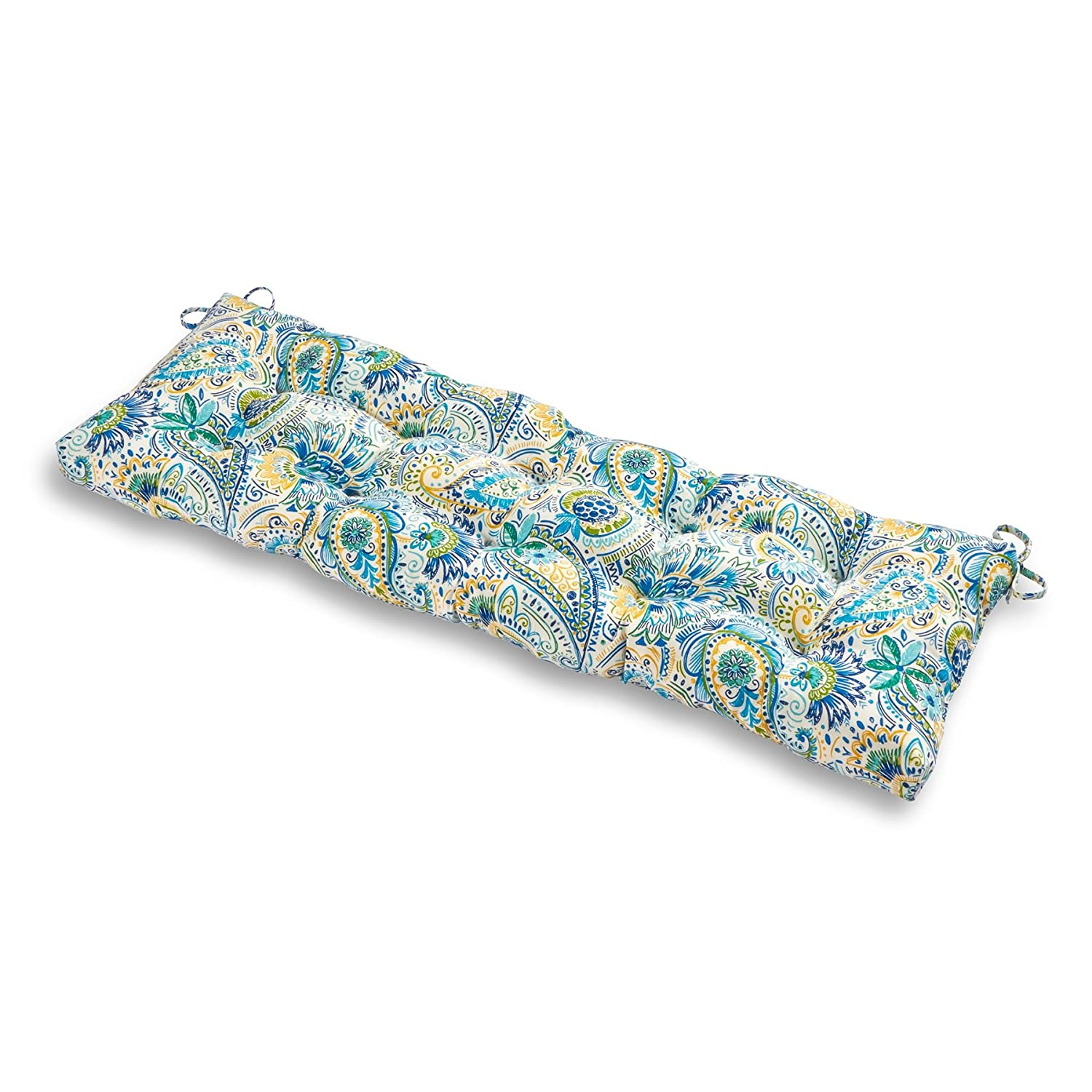 Greendale Home Fashions Outdoor 51-inch Bench Cushion in Painted Paisley, Baltic