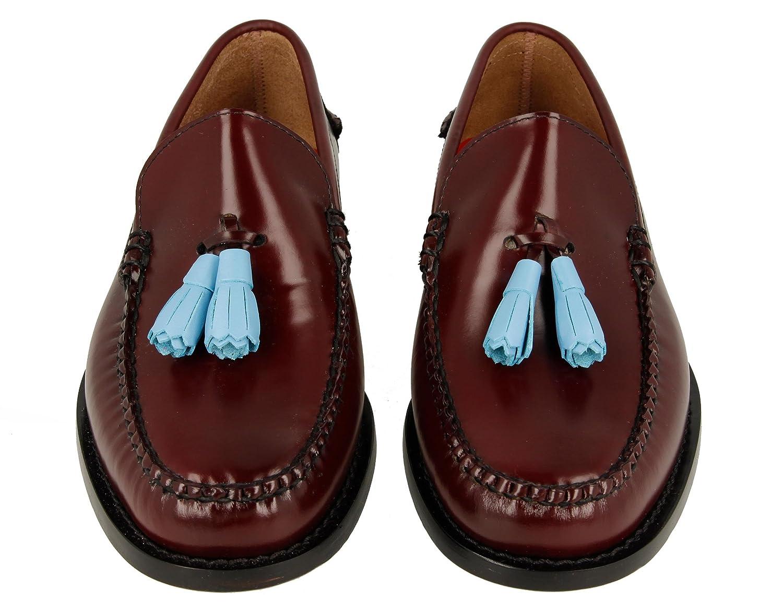 KERRIMAN Castellanos Hombre Burdeos con BORLAS Azul Claro: Amazon.es: Zapatos y complementos