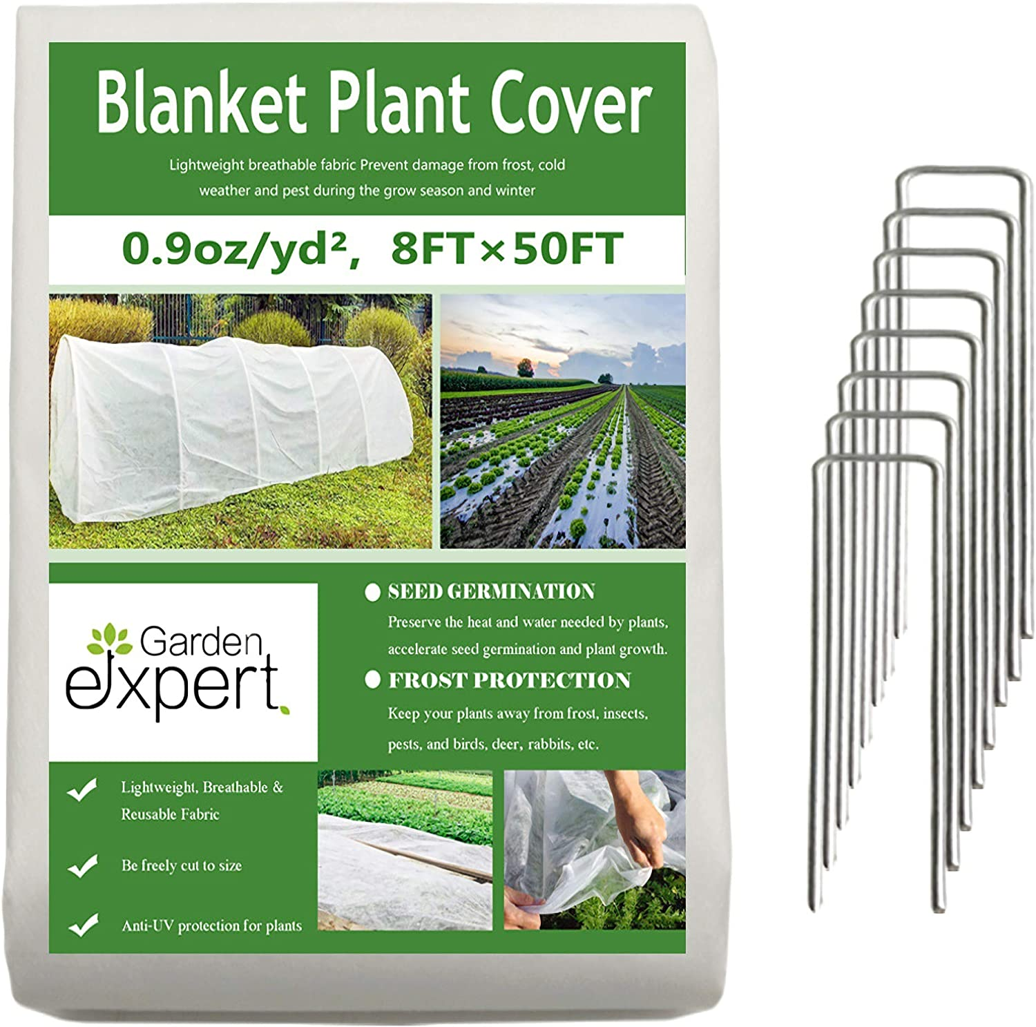 Garden EXPERT Plant Covers Freeze Protection Floating Row Cover 0.9oz Fabric Frost Cloth Plant Blanket for Plants & Vegetables in Winter(8FTx50FT,with 8 PCS Staples Stakes)