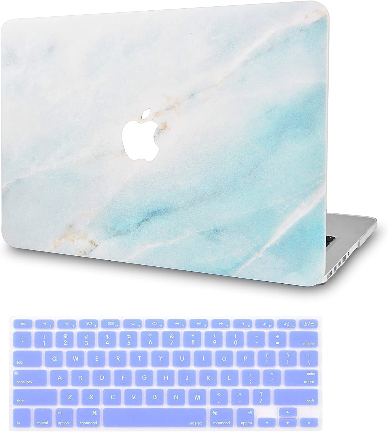 """LuvCase 2 in 1 Laptop Case for Old MacBook Pro 13"""" Retina Display (2015/2014/2013/2012) A1502/A1425 Rubberized Plastic Hard Shell Cover&Keyboard Cover (Mint Marble)"""