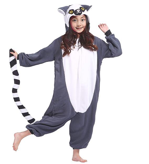 b2e1c9564 Kigurumi Pijama Animal Entero Unisex para Niños con Capucha Cosplay Pyjamas  Lemur Ropa de Dormir Traje de Disfraz para Festival de Carnaval Halloween  ...