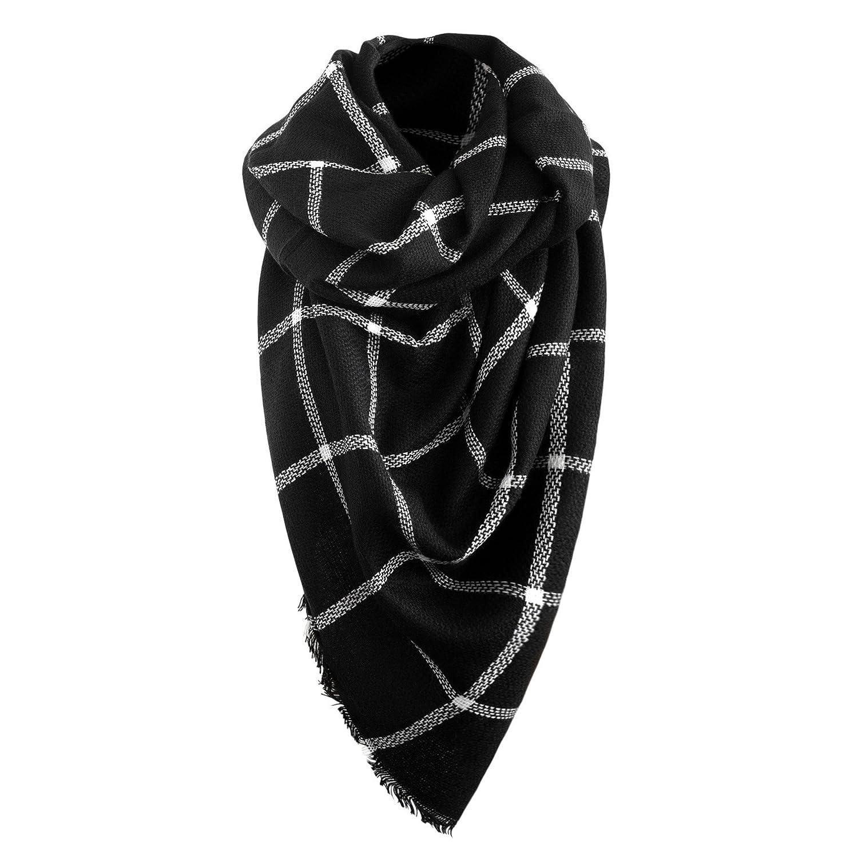 Bufanda Otoño/Invierno de la Mujer Bufanda otoño Bufanda de invierno De gran tamaño en negro/blanco ...