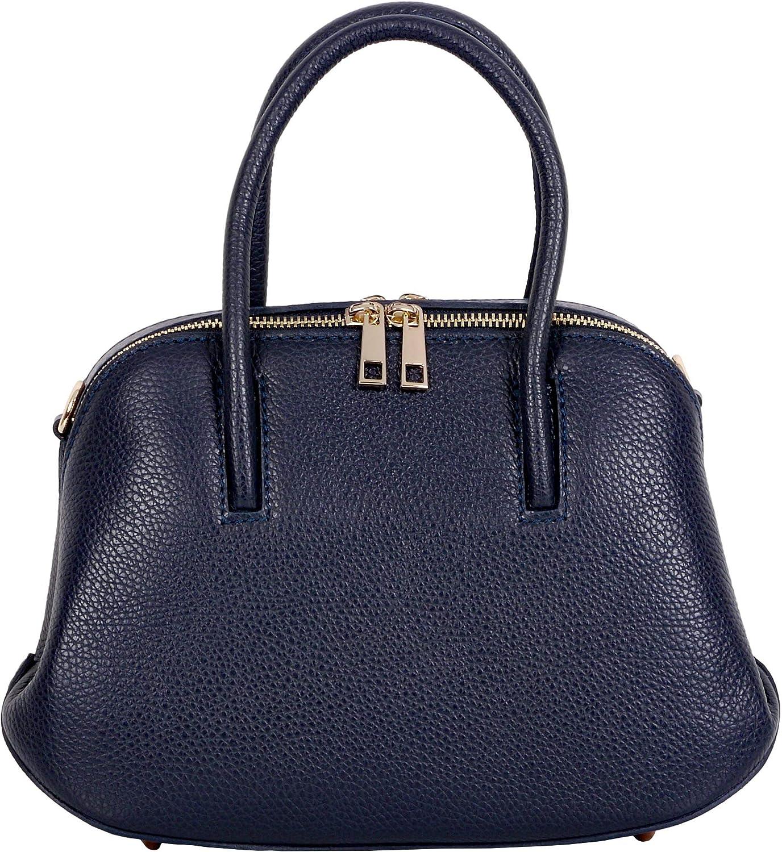 Primo Sacchi Mesdames italien en cuir texturé fait à la main petit sac à double poignée et sac à bandoulière comprend un sac de rangement de protection de marque Bleu Marin