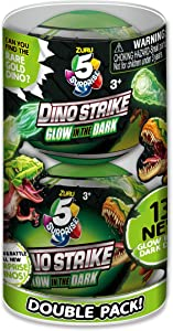 5 Surprise Dino Strike Surprise Mystery Battling Collectible Dinos by ZURU (2 Pack) Glow in The Dark