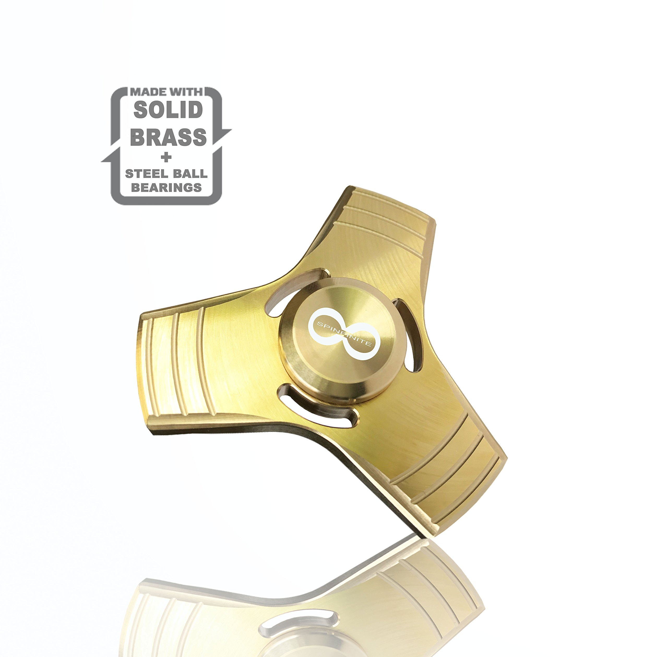 Metal Fidget Spinner toy, Solid Brass Gold Tri Spinner with stainless Steel Bearings which helps to increase focus, relieves stress, anxiety, and boredom. Fidget Spinner + Metal Carrying Case