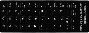 Adhesivo para convertir un teclado QWERTY de portátil a AZERTY (teclado francés), color negro