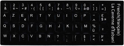 Letras blancas adhesivas Azerty (teclado francés) negro para ordenador portátil/PC