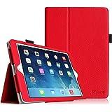 Coque New iPad 9.7 2017 / iPad Air - Fintie Folio PU Cuir Housse Protection Cover Haute Qualité Smart Case avec Support Sommeil/Réveil Automatique für Apple Nouvel iPad 9.7 pouces 2017 / iPad Air 2013 Modèle, Rouge