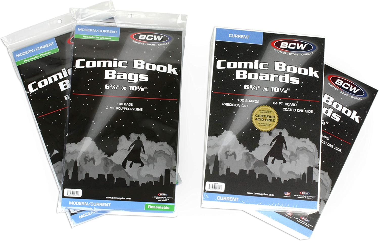 BCW Comic Book Bags and Boards Kit Resealable Bags Backing Boards and Cleaning Cloth Dividers