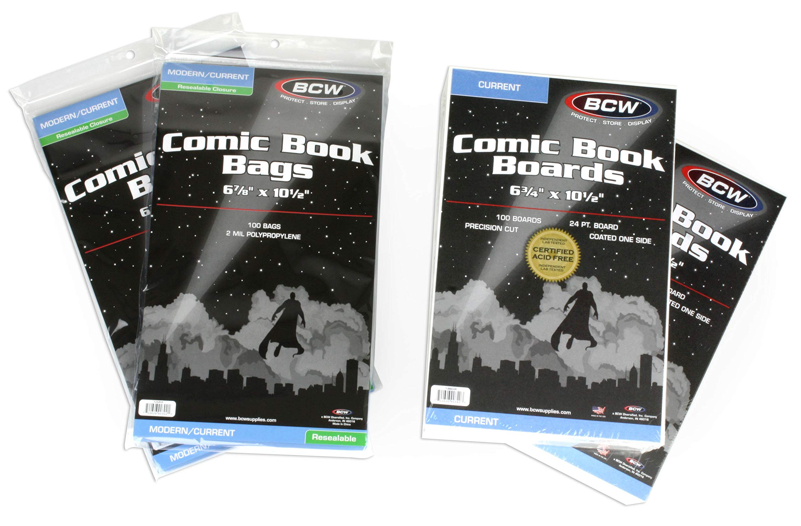 200 BCW RESEALABLE Current Comic Bags & Backer Boards