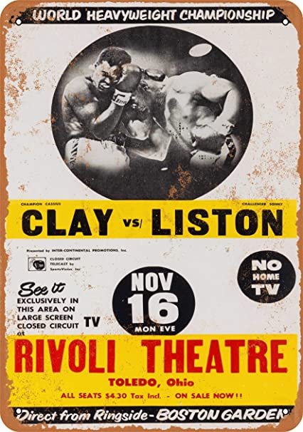 """Sonny Liston Cassius Clay Movie Ad 10/"""" X 7/"""" Reproduction Metal Sign I178"""