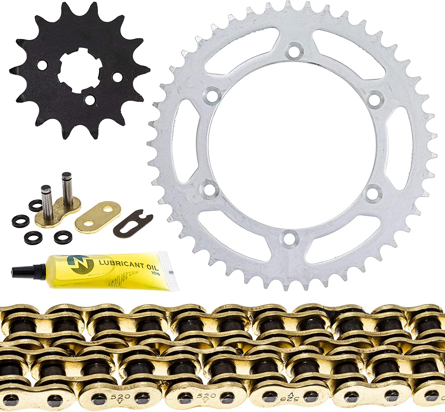 NICHE Drive Sprocket Chain Combo for Kawasaki KDX250 Front 14 Rear 45 Tooth 520V O-Ring 112 Links