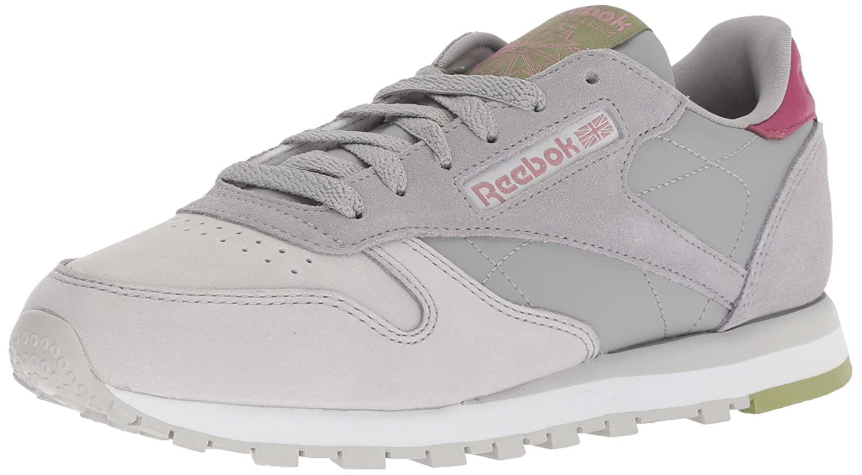 Reebok Women's Classic Leather Sneaker B077ZFH4RB 5.5 M US Cb-tin Grey/Skull Grey/Tw