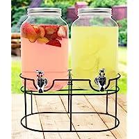Estilo EST2760 1 Gallon Glass Mason Jar Double Beverage Drink Dispenser
