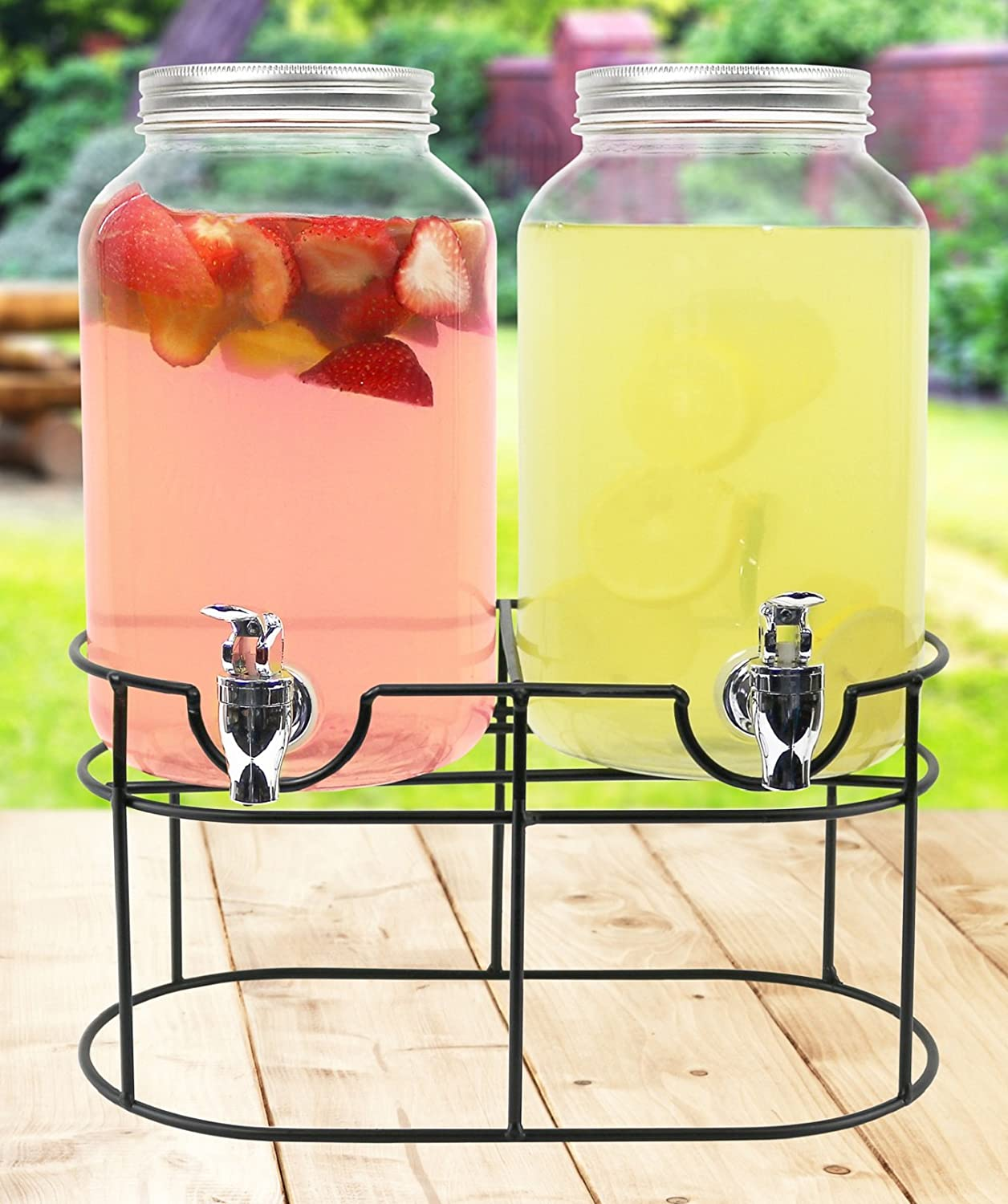 Estilo Glass Mason Jar Double Beverage Drink Dispenser On Metal Stand With Leak Free Spigot, 1 Gallon Each