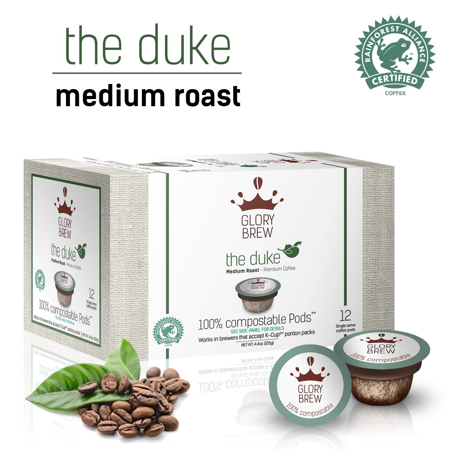 GLORYBREW - The Duke - 72 count 100% Compostable Coffee Pods for Keurig K-Cup Coffee Brewers - Rainforest Alliance Certified - Medium Roast | Better than Recyclable and Biodegradable Coffee Pods by GLORYBREW