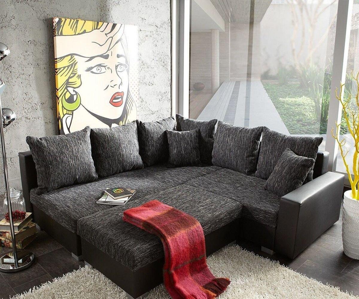 Ecksofa grau schwarz  Couch Lavello mit Hocker Ecksofa L-Sofa (Eckcouch Links mit Hocker ...