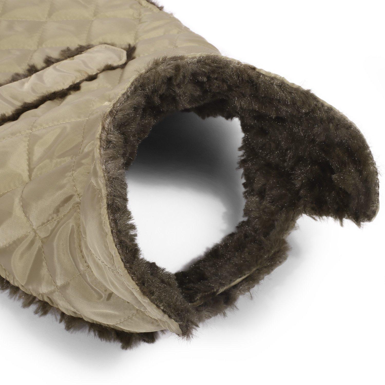 Pecute Dog Jacket Winter Warm Soft Fleece Liner Pet Vest with Strap Closure Light Tan L
