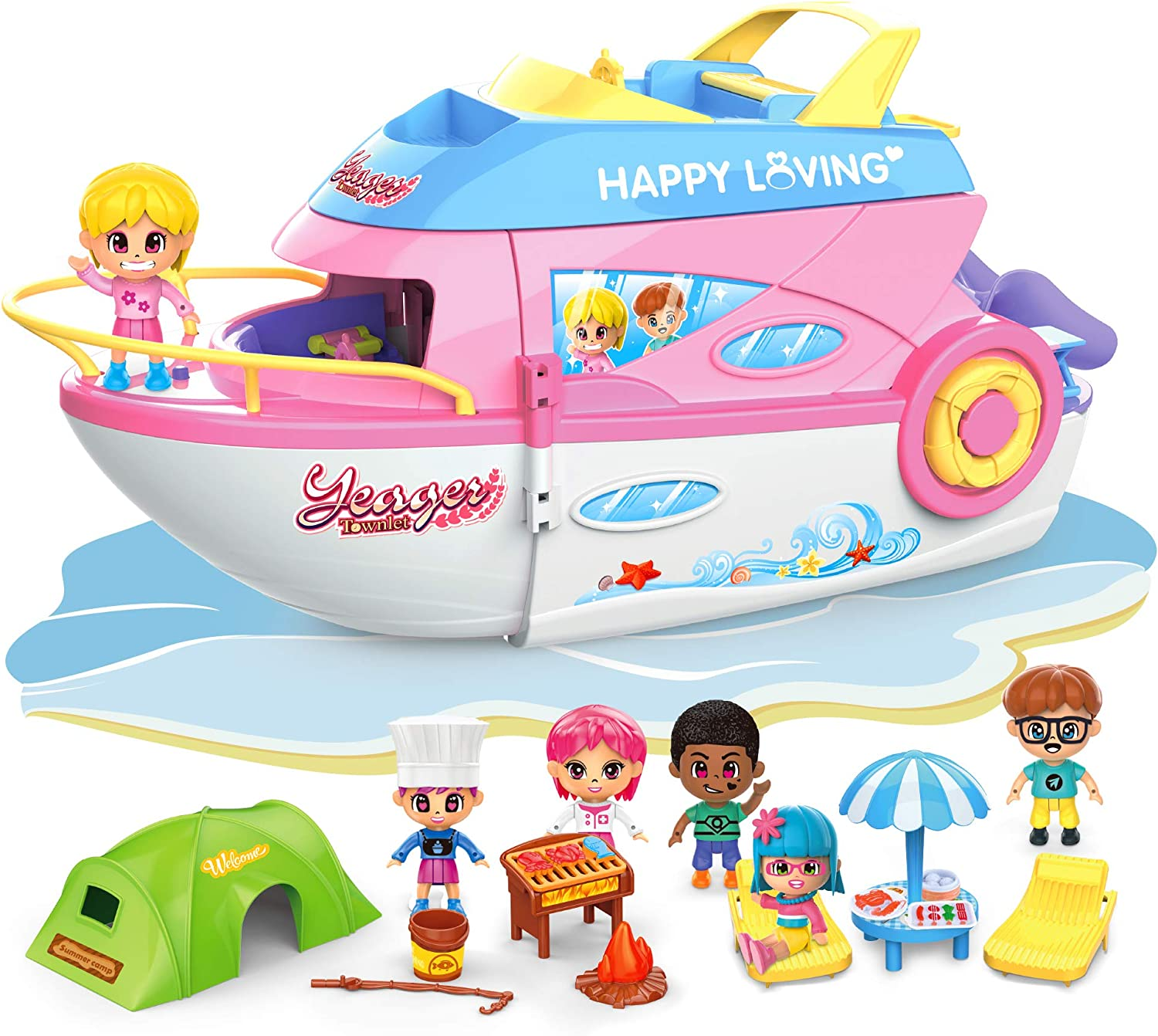 iPlay, iLearn Doll Playset, Girls Doll House, Pretend Play Toys Set, Cruise Ship Dollhouse W/ Boat, Camper, Grill Tool, Figures & Furniture Accessories, for 3 4 5 6 Year Olds Kids Girls Toddlers