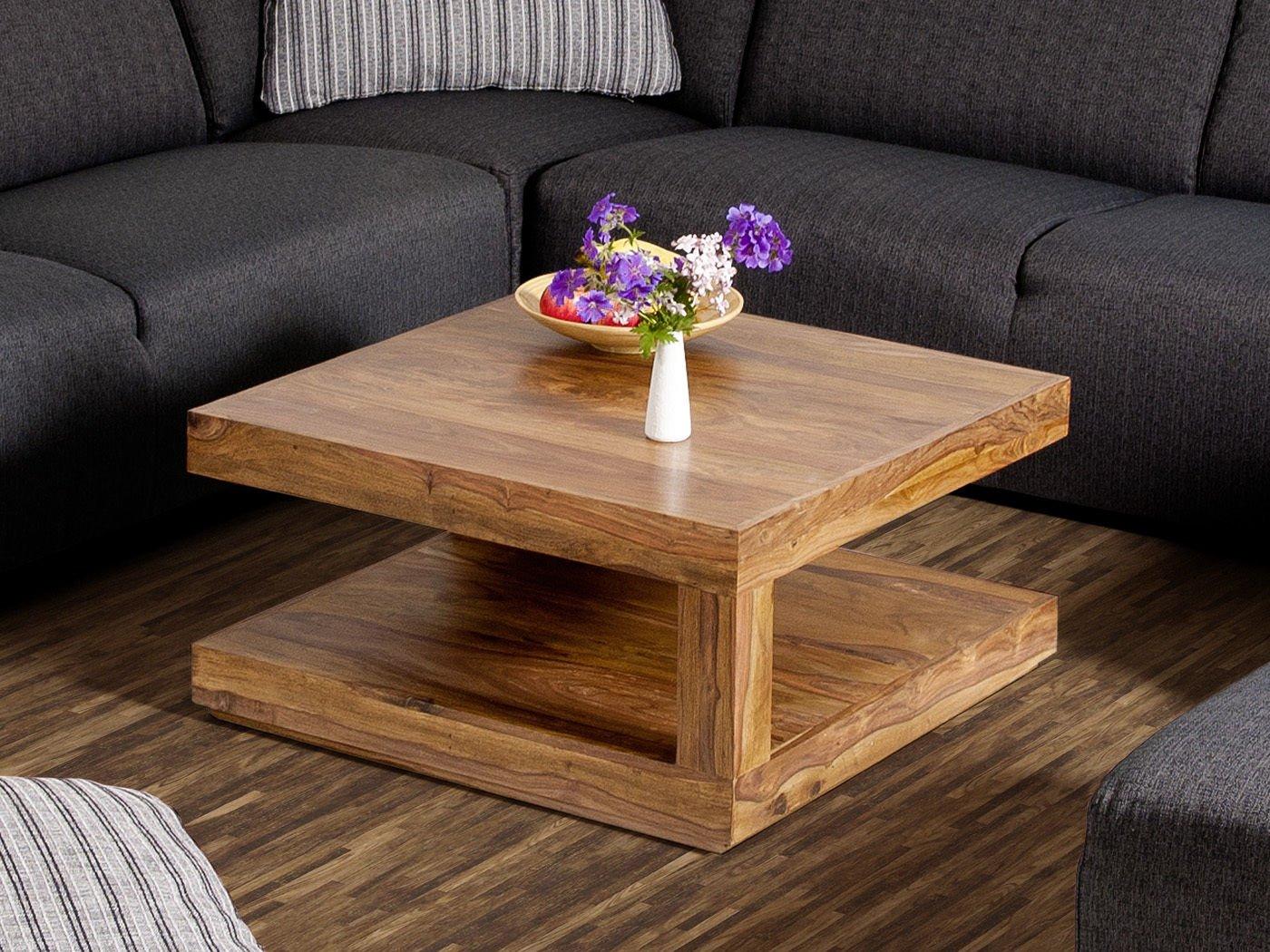 Couchtisch Wohnzimmertisch Tisch Palisander Massivholz 75x75 cm ...