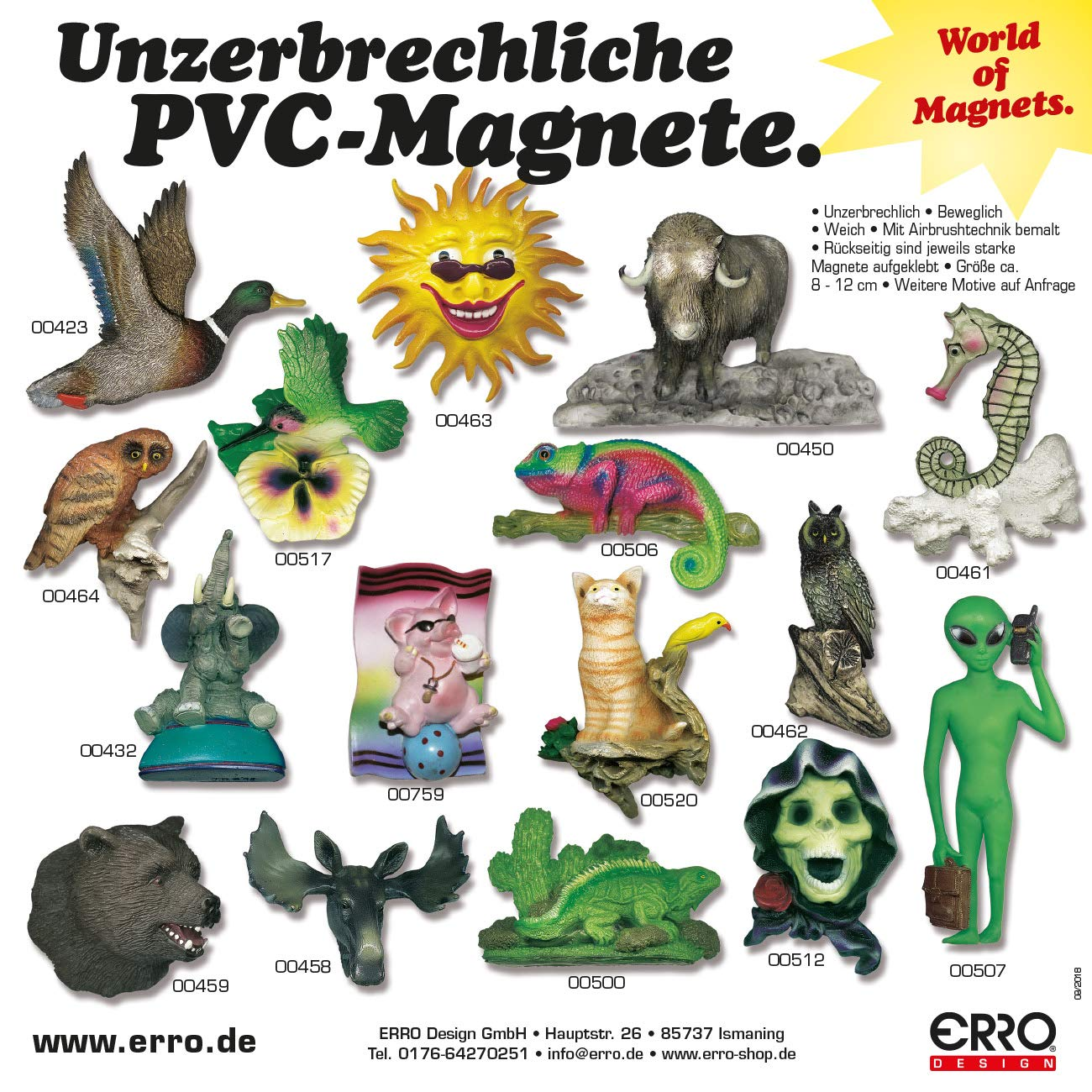 Geschenkidee Designmagnet Dekomagnet unzerbrechlicher PVC Magnet B/üromagnet Cham/äleon