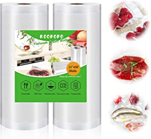 Vacuum Sealer Bags, Food Vacuum Saver Bag Rolls, Large 11 Inch x 50 Ft 2 Pack Vacuum Sealer Rolls, BPA Free,Heavy Duty,Cut to Size Roll for vac storage, Meal Prep or Sous Vide