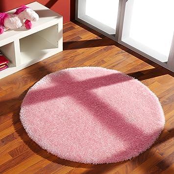 Rosa teppich  Shaggy Teppich Rosa rund, Größe (cm):100 (Durchmesser ...
