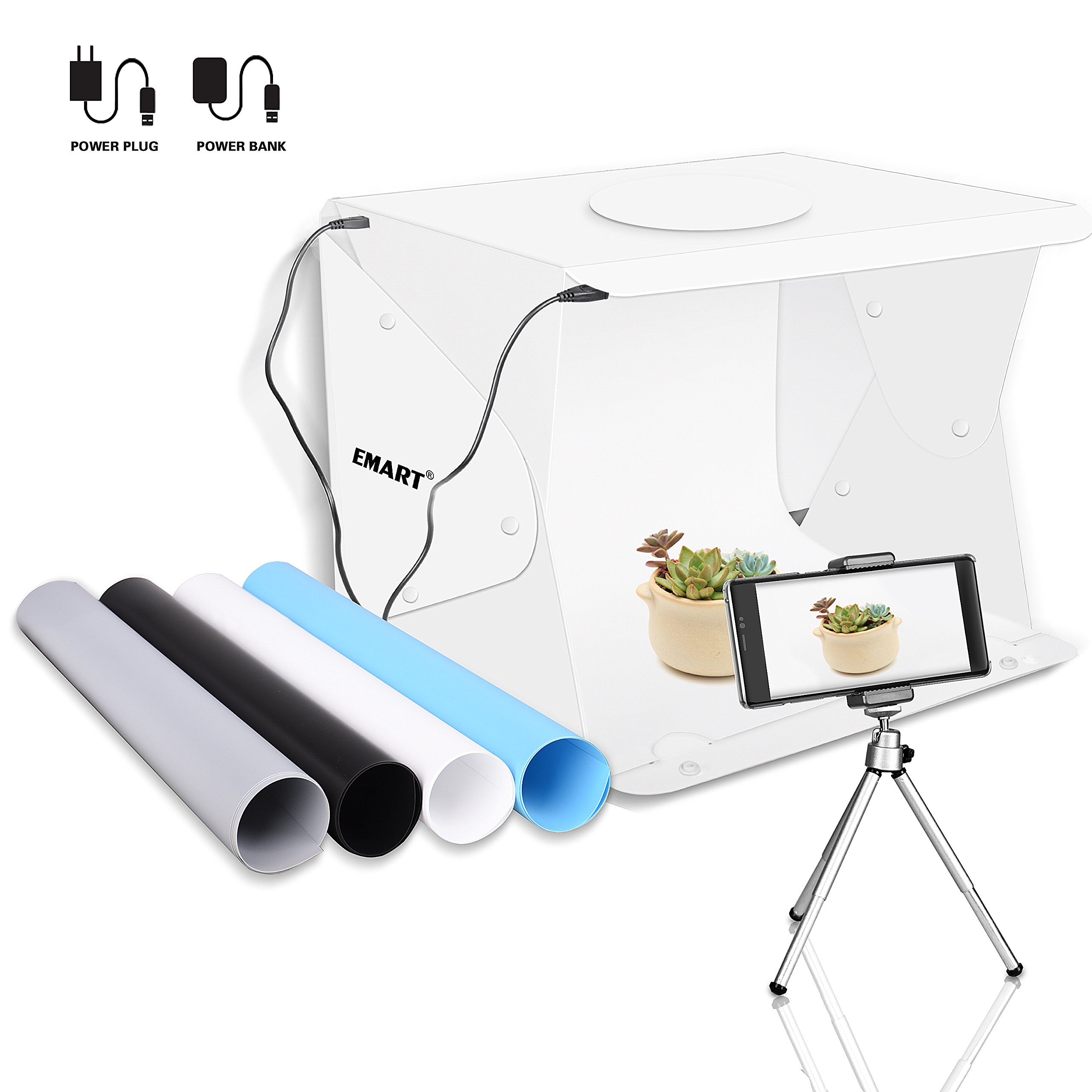 Emart 14'' x 16'' Photography Table Top Light Box 52 LED Portable Photo Studio Shooting Tent by EMART