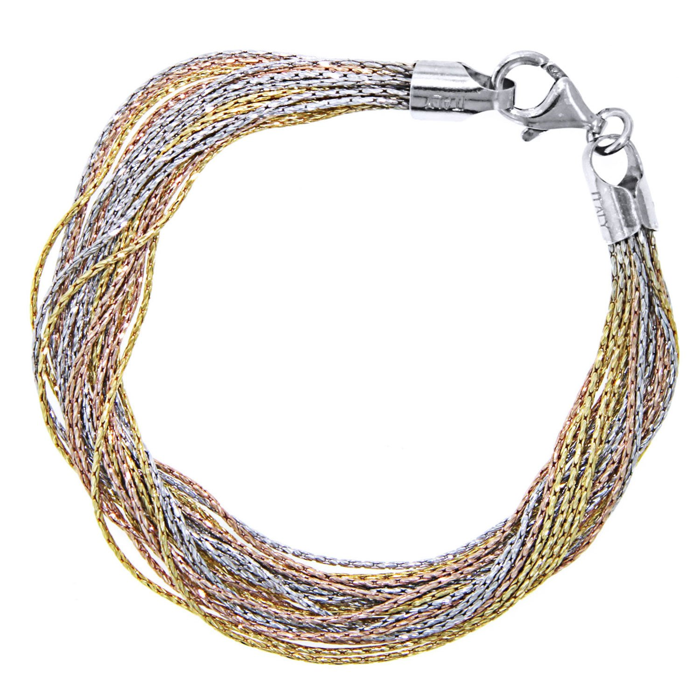 Officina Bernardi Sterling Silver Tri Color 20 Row Strand Bracelet, 8''