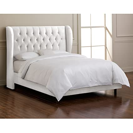 Superbe Skyline Furniture Waveland Wingback Queen Bed Upholstered In Velvet White