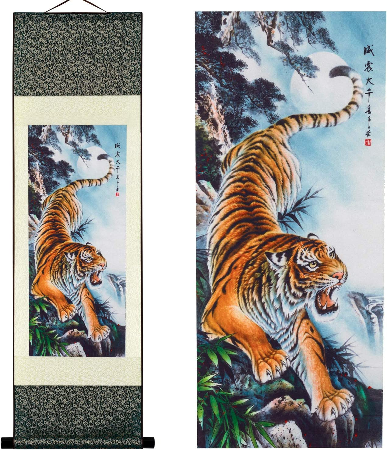 Chinese Old Antique Hand painting scroll tiger down the mountain