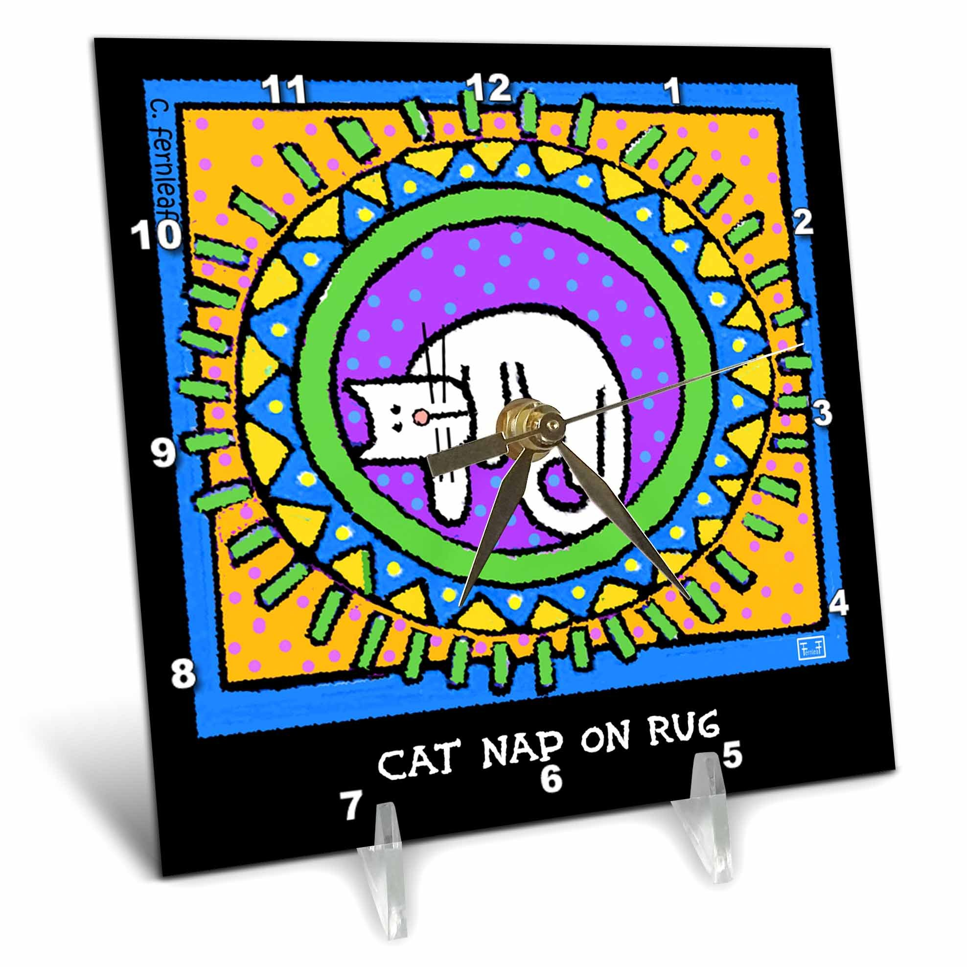3dRose dc_36674_1 Cat Nap on Rug, Cartoon Cats, Cats, Cat, Funny Cats, Kittens. Pets, Funny Pets, Animals Desk Clock, 6 by 6''